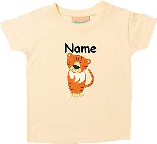 Shirtinstyle Bébé Haut, Tigre Animal Motifs Nom Souhaité - Jaune Clair, 18-24 Monate