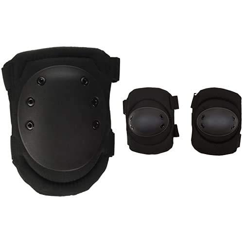 Mil-Tec rodilleras Par de Negro Negro + Airsoft - Coderas, color negro