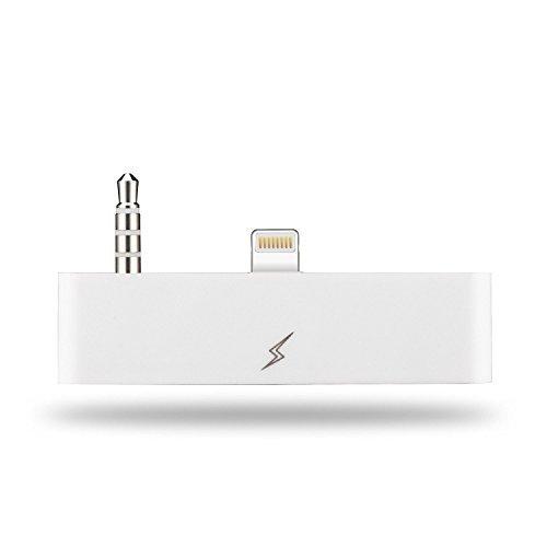 OKCS 8 Pin 30 8 Audio Adapter - 8 Pin auf 30 Polig Buchse AUX - mit AUDIOÜBERTRAGUNG - kompatibel mit iPhone 6 Plus, 6s Plus 6s - Weiß