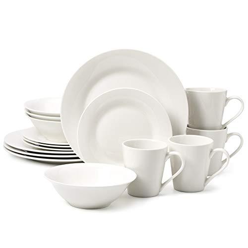EZOWare Tafelservice aus Porzellan, 16-teiliges Kombiservice GeschirrService für 4 Personen, Runde Teller, Salatteller, Schalen, Becher, Weiß