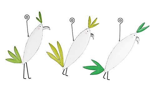Baden Import Lot de 3 suspensions en Forme d'oiseau en métal I Motif Oiseau I Blanc Vert Hauteur 30 cm