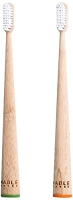MABLE Bamboo Toothbrush, Self-Standing, Non-Toxic Medium Bristles, Green, Pack of 2