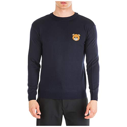 Moschino Herren Pullover Teddy Bear blu 50 EU