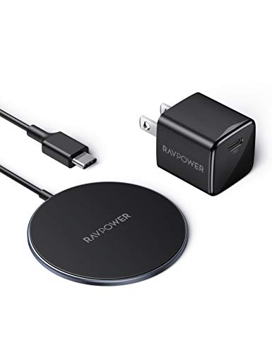 Magnetic Wireless Charger RAVPower for MagSafe Charger iPhone 12 Charger【Mini USB C PD Adapter Included】Fast Wireless Charging Pad Type C Charger Compatible with iPhone 12/12 Pro Max/mini/AirPods Pro