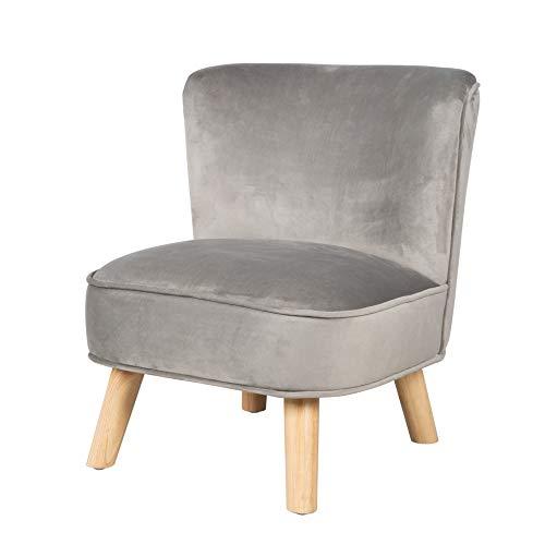 """roba Kindersessel """"Lil Sofa"""" für Jungen und Mädchen, bequemer Sessel mit stabilen Holzfüßen und grauem Samtstoff, Kinder-Sitzmöbel-Serie """"Lil Sofa"""" fürs Kinder- oder Babyzimmer"""