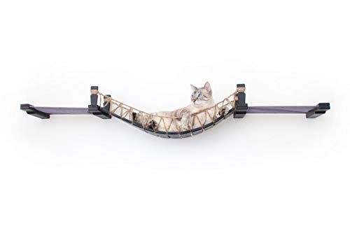 CatastrophiCreations Cat Bridge Wall-Mounted Play and Lounge Toy Cat Tree with Fabric Lounger for Pets