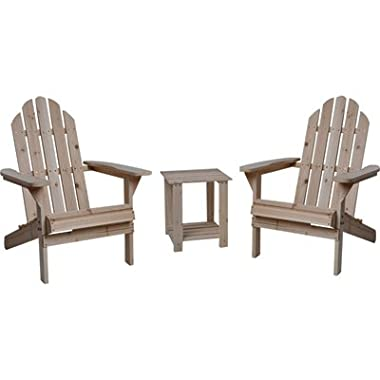 Fir Wood Adirondack Chairs with Table - 3-Pc. Combo