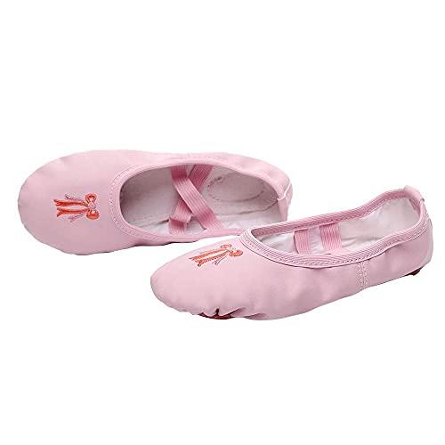 Baletki, buty do tańca z pełną podeszwą Skórzane baletki z haftem kokardkowym Gimnastyczne buty do jogi dla dziewczynek
