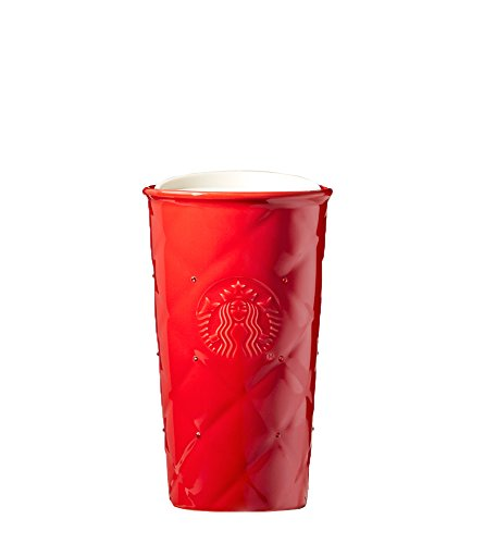 Starbucks Red Quilted Double Wall Traveler Coffee Mug Tumbler Adorned with Swarovski Crystals