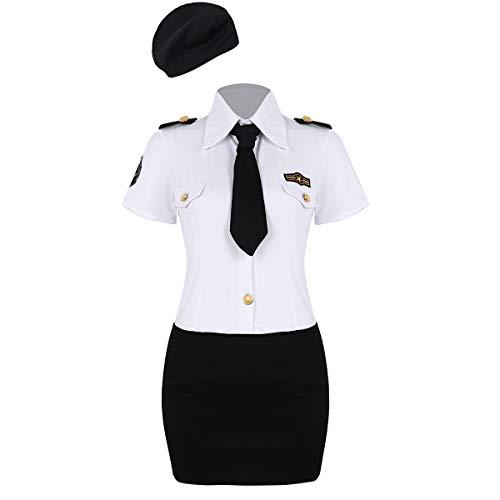 dPois Damen Polizei Polizistin Kostüm Set Kurzärmeliges Hemd Minirock Krawatte Hut Uniform Cosplay Outfits für Mottoparty Halloween Fasching Weiß+Schwarz 4X-Large