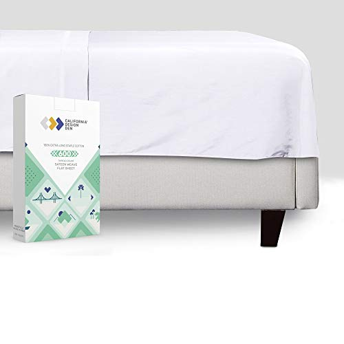 California Design Den Pure White King Flat Sheet - 600 Thread Count 100% Natural Cotton, Breathable 1 Piece Top Sheet, Ultra Premium Sateen Weave Bed Sheet