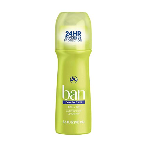 Ban Powder Fresh 24-hour Invisible Antiperspirant, Roll-on Deodorant for Women and Men, Underarm Wetness Protection, with Odor-fighting Ingredients, 3.5oz