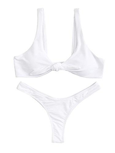 SweatyRocks Women's Sexy Bikini Swimsuit Soild Color Tie Knot Front Thong Bottom Swimwear Set White S