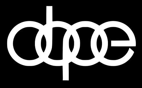 UR Impressions Dope Vinyl-Aufkleber Grafiken für Audi A3 A4 A5 A6 A8 Allroad S4 S5 S6 S7 RS 3 4 5 7 TT R8 Q3 Q5 SQ5 Q7 Auto SUV Wand Fenster Laptop Weiß URI232-MW