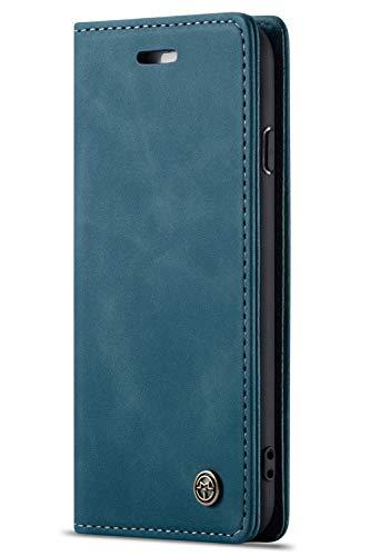 Handyhülle, Premium Leder Flip Schutzhülle Schlanke Brieftasche Hülle Flip Hülle Handytasche Lederhülle mit Kartenfach Etui Tasche Cover für iPhone 6 6s 7 8 Plus X/XS XS Max XR