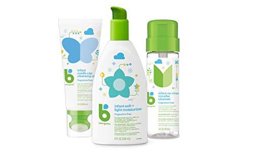 Babyganics Infant Care Set, Cradle Cap Cleansing Oil, Micellar Cleanser, Moisturizer, 3 Items