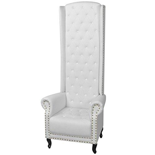 Festnight Sessel mit hoher Rückenlehne Polstersessel Relaxsessel Hochlehner-Sessel Wohnzimmersessel Sitzkomfort 77x65x181cm Weiss