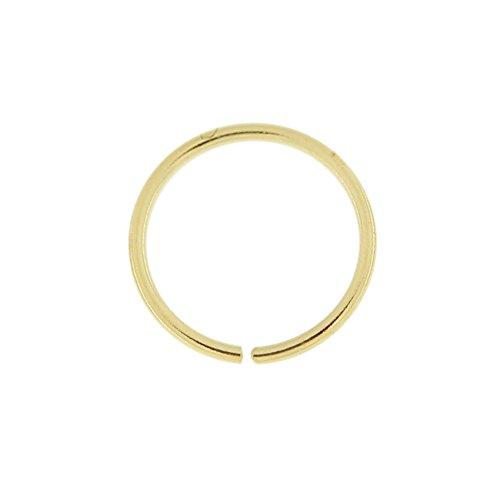 9K Solid gelb Gold 18-Gauge - 6MM Durchmesser Nahtlose kontinuierliche Hoop Nasenring Piercingschmuck