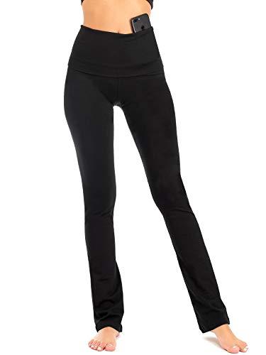 DEAR SPARKLE Bootcut Fold Over Leggings for Women   Slim Look Bootleg Yoga Pants w Pocket + Plus Size (C5 F) (Black, Small)