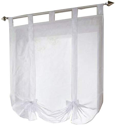 HomeyHo Tab Top Sheer Curtain Bowknot Tie Up Kitchen Curtains Window Treatments Balloon Curtains for Bathroom Ajustable Window Curtains Sheer 31 x 55 Inch White Ribbon