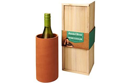 Jamie Oliver Terracotta Weinkühler 34cm x 12cm x 12cm in attraktiver Holzbox19cm x Ø 10cm