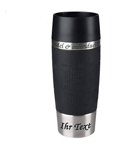 Emsa Isolierbecher Kaffeebecher 360 ml Schwarz + Lasergravur