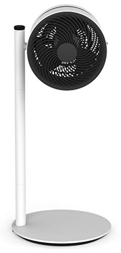 BONECO Air Shower Fan F220, Freestanding Pedestal Floor Fan, Air Cooling Unit with 4 Speed Controls, Adjustable 2 in 1 Direct or Indirect Airflow, Stylish Modern Swiss Design (Grey/White)