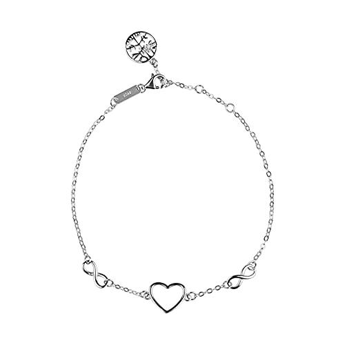 eMagTech Pulsera para mujer con corazón de amor, símbolo del infinito, árbol de la vida, 180 mm, ajustable, de plata de ley 925