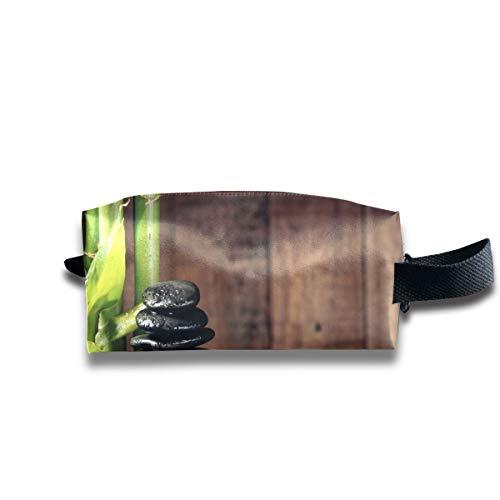 Trousse de maquillage Gym Bamboo Grove et pierres zen noires Trousse cosmétique de salle de bain Trousse de toilette carrée pour femme Grande capacité avec fermeture à glissière pour femmes et filles