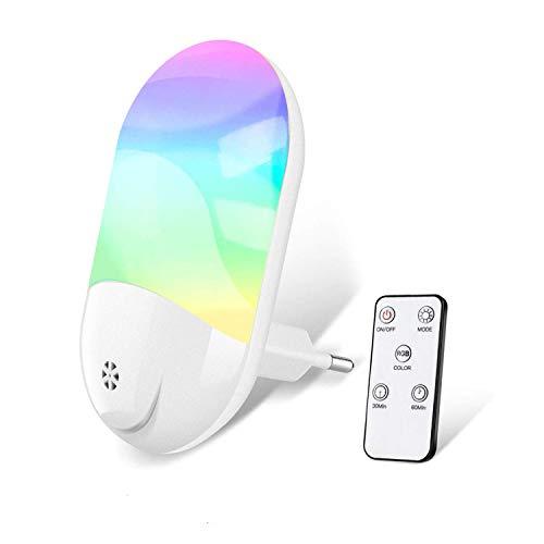 Nachtlicht Steckdose,RGB LED Nachtlicht Baby mit Fernbedienung, Zeitgesteuert, 8 Farben einstellbar und warmweiß umschaltbar, für Babyzimmer, Schlafzimmer,Flur, Küche,Bad [Energieklasse A +++]