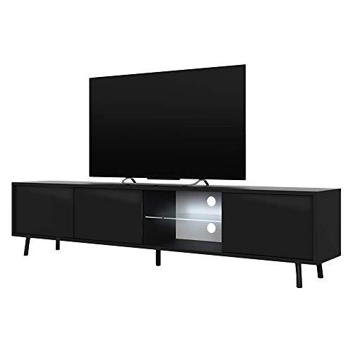 Selsey TV-Lowboard, Schwarz Matt/Schwarz Hochglanz, 175x31,3x40,5