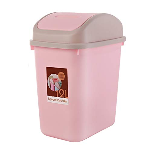 Hong Yi Fei-Shop papeleras Bote de Basura Rectangular de la Aleta con el Bote de Basura plástico Reversible para el Cuarto de baño/la Cocina/la Oficina (Color : Pink)
