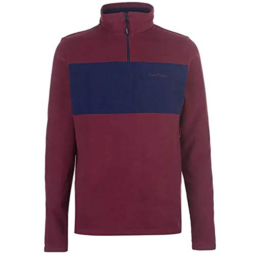 Pierre Cardin Mens Neue Saison 1/4 Zip Micro Fleece Pullover mit Kontrastfarbe Panel (2X-Groß, Burgund)