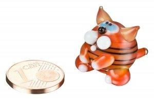 Mini gatto a righe – Miniatura tigre in vetro rosso arancione con strisce – figura gattino a righe – n° 3 cassetta portaoggetti, portafortuna, arancione Tabby