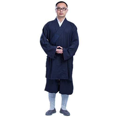 JTIH® Mönch Buddhismus Kleidung Kleidung Meditation Buddha Baumwolle und Leinen Luohan Mantel Kurz Mönch Kleider Mönch (beinhaltet nur Jacke) (1,XL)