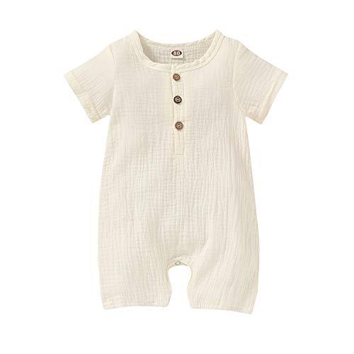 Happy Town Infant Baby Girl Boy Jumpsuit Cotton Linen Romper Short Sleeve One-Piece Bodysuit Infant Summer Clothes Outfits (White, 12-18 Months)