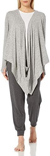 Karen Neuburger Plus Size Women s Long Sleeve Convertible Sweater Jacket Wrap Cinder Heather product image