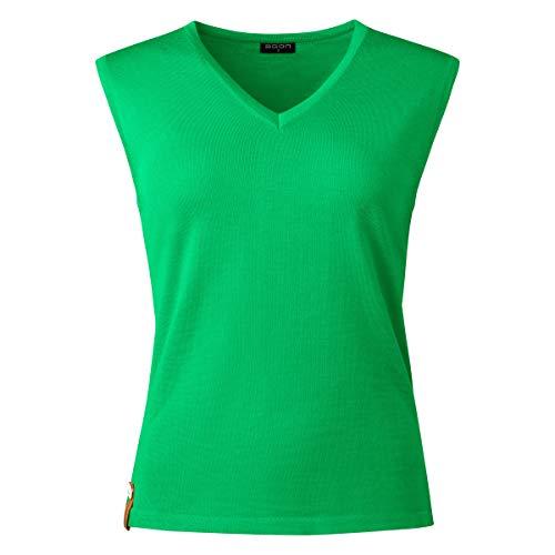 agon Damen Sommer-Merino Pullunder - ärmelloser Strick-Pullover mit V-Ausschnitt aus Biella Merino-Wolle mit UV-Schutz, Made in EU Grün 44/2XL