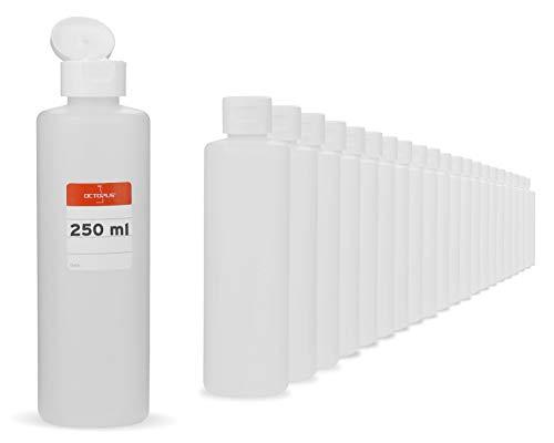 Octopus 500 x 250 ml Kunststoffflaschen, HDPE Plastikflaschen mit weißem Klappverschluss, Leerflaschen mit weißem Scharnierverschluss, Rundflaschen inkl. Beschriftungsetiketten