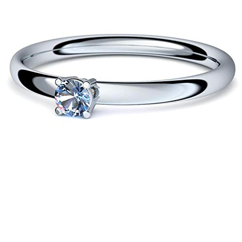 Weißgold Ring Blautopas 585 + inkl. Luxusetui + Blautopas Ring Weißgold Blautopasring Weißgold (Weißgold 585) - Concinnity Amoonic Schmuck Größe 58 (18.5) AM161 WG585BTFA58