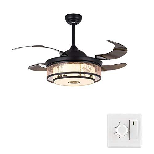 Ventilador de techo con luz china Invisible Fan Light Sala de estar Lámpara Antigua Ventilador de techo Luz Restaurante Chandelier LED 3 Color Dimagen Fan de techo para vivir Dormitorio de la habitaci