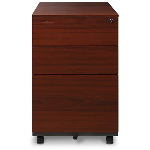 Aurora Mobile File Cabinet 3-Drawer Metal with Lock Key Sliding Drawer, Metallic Charcoal/Red Teak, Fully Assembled, Ready to Use