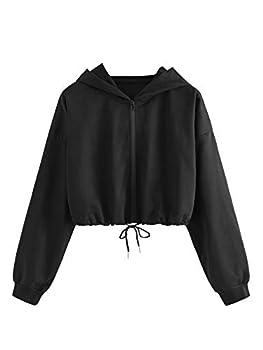 SweatyRocks Women s Long Sleeve Full Zip Drawstring Hem Crop Top Hoodie Sweatshirt Jacket Black S
