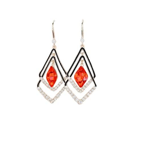 BIUBIULOVE Pendientes de Zafiro rombo de Moda, Pendientes de Diamantes geométricos de Aguja de Plata de Moda, Pendientes de Temperamento Femenino (Rojo)