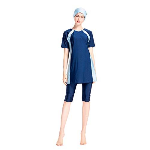 Lazzboy Frauen Muslimischen Badeanzug Mit Kappe Volltonfarbe Beachwear Bademode Bescheiden Surfing Suit Muslim Hindu Jüdisch Shorts Sonnenschutzmittel(Marine,3XL)
