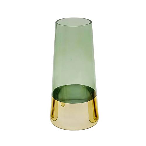 Jarrones Modernos, Jarrón De Cristal Verde/Gris Lily Tulip Florero Dorado Fondo Grueso Espeso Decoración, Altura: 22/25 / 28cm(Size:13 * 13 * 25CM,Color:Verde)