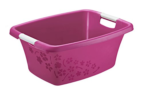 Rotho Flowers Wäschekorb 25 l, Kunststoff (PP), pink / weiss, 25 Liter (50,5 x 38 x 22 cm)