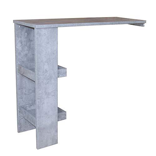 HTI-Line Bartisch Thekla Bartresen Stehtisch Beistelltisch Stehtisch Küchenbartisch mit 3 Regalfächern Beton