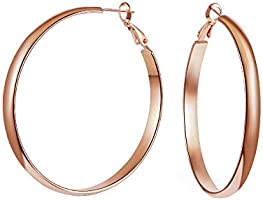 WOWSHOW 5mm Thick Flat Edge Gold Hoop Earrings Stainless for Women Girls 30mm-70mm…