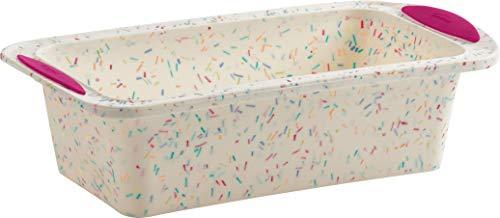 Trudeau Structure Loaf Pan Silicone Bakeware, Medium, White Confetti